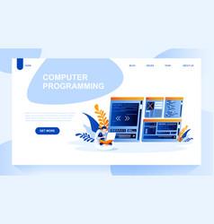 computer programing landing page template vector image