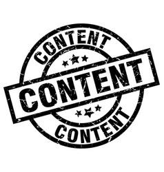 Content round grunge black stamp vector