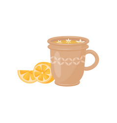 cup of tea with small flowers and sweet lemon vector image