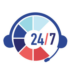 customer support service 24 7 day and night call vector image