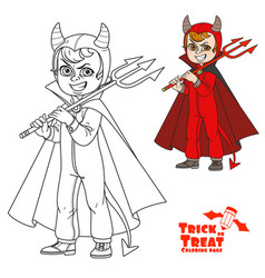 cute boy in overalls devil costume with a trident vector image
