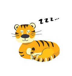 Cute tiger sleeping cartoon animal baby vector