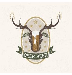 Deer beer negative space concept grunge label vector