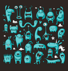 doodle monster collection vector image