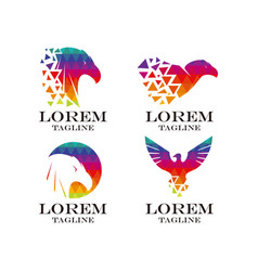 Eagle logo set vector