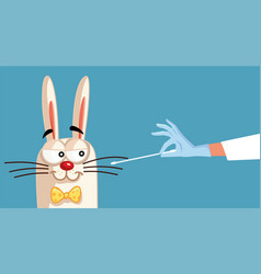 Easter bunny being swabbed for a covid-19 test vector