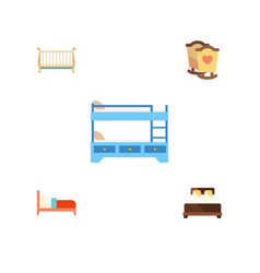 flat bed set of crib cot mattress and other vector image