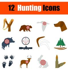 Flat design hunting icon set vector