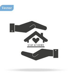 Flat hand showing icon home - stay at home vector