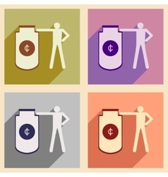 Flat with shadow concept icon man and purse for vector image