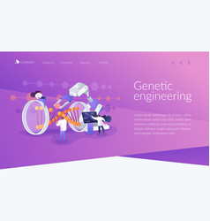 Genetic engineering landing page concept vector