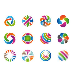 globe abstract logo colored business circles vector image
