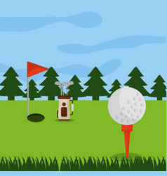 Golf course hole flag ball and pine tree forest vector
