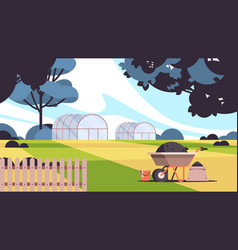 Greenhouse building organic eco farming vector