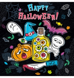 Halloween greeting card with ghost pumpkin vector