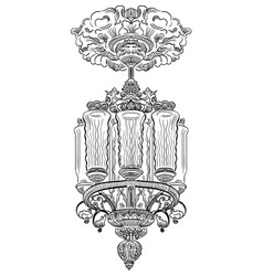 Hand drawing old chandelier vector