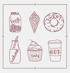 Hand drawn summer desserts and drink elements vector