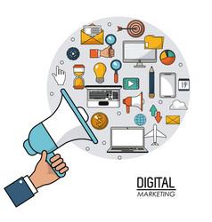 Hand holding speaker digital marketing internet vector
