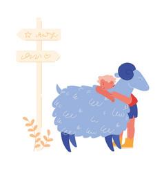 Happy boy character hugging cute sheep in farm zoo vector