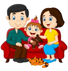 Happy family sitting on the red sofa vector image