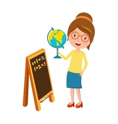 Happy primary school teacher with globe hand and vector