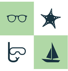 Hot icons set collection of ship tube goggles vector