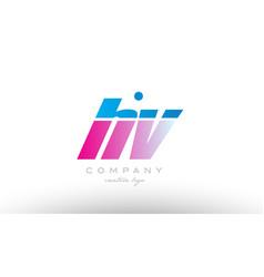 hv h v alphabet letter combination pink blue bold vector image