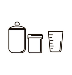 Isolated set transparent glass jars and a glass vector