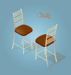 isometric cartoon chair icon isolated on blue vector image