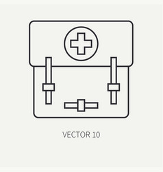 Line flat military icon - first aid kit vector