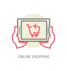 Line internet shopping concept - browser window vector