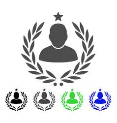 Man glory laurel emblem flat icon vector