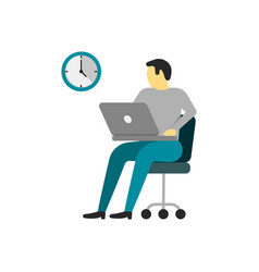 man is working at laptop vector image