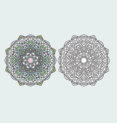 mandala flower coloring drawing vector image