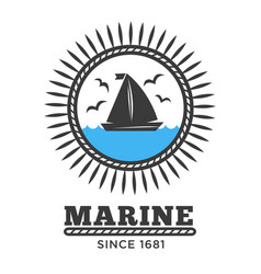 marine symbol sailboat in sea and gulls isolated vector image