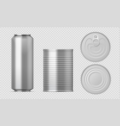 metal tin can realistic food packages blank vector image