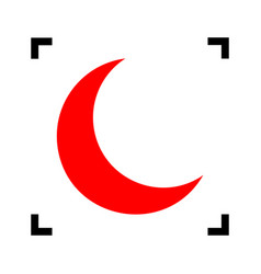 moon sign red icon inside vector image