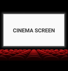 Movie cinema screen and red seat chairs vector