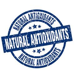 Natural antioxidants blue round grunge stamp vector