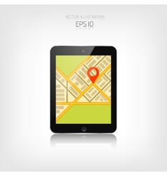 Navigation background with tablet and map vector