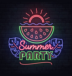 neon sign summer party with watermelon vector image