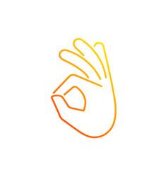 Okay gesture gradient linear icon vector