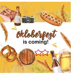 Oktoberfest frame with warm color camera drink vector