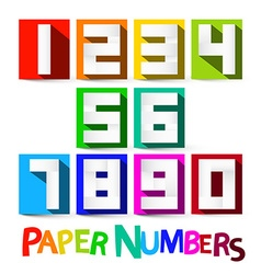 Paper Numbers Set Colorful Paper Cut Numbers vector image