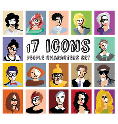 People characters avatars icons set vector