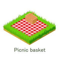 Picnic bascet icon isometric style vector