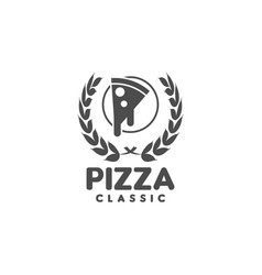 pizza logo graphic design template vector image