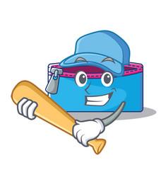 Playing baseball pencil case character cartoon vector