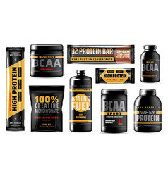 protein containers bcaa sport food supplements vector image