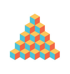 Pyramid of cubes 3d isolated vector